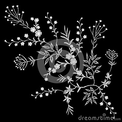 Free Embroidery White Lace Floral Pattern Small Branches Wild Herb With Little Blue Violet Field Flower. Ornate Traditional Folk Fashio Stock Photos - 97301953