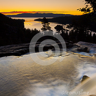 Emerald Bay Sunrise Waterfall