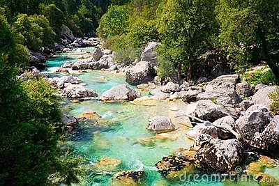 Emerald coloured alpine river Soca