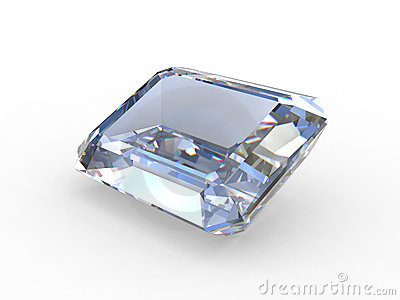 Emerald cut diamond gemstone