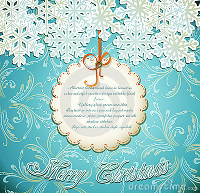 Emerald festive background with snowflakes