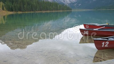 Emerald lake Yoho national park Canada British Colombia. During Autumn stock footage