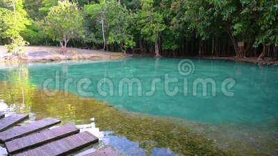 Emerald Pool Unseen Thailand Green and blue water is a tourist attraction in Krabi Thailand Asia. Emerald Pool Unseen Thailand Green and blue water is a tourist stock video footage