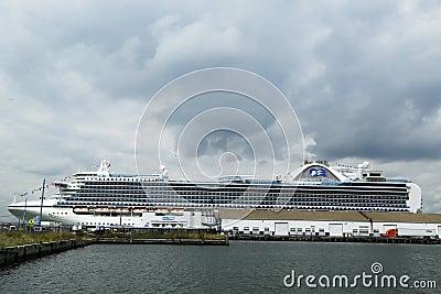 Emerald Princess Cruise Ship docked at Brooklyn Cruise Terminal Editorial Stock Image
