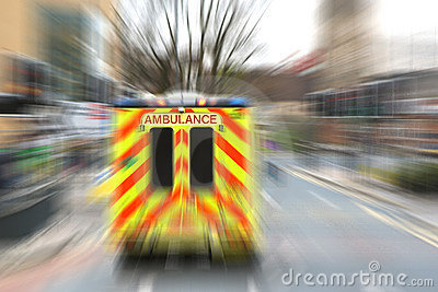 Emergency ambulance with zoom effect