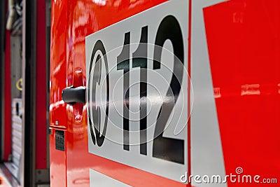 Emergency call 112 on an ambulance