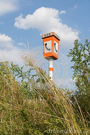Emergency call post in a rural landscape