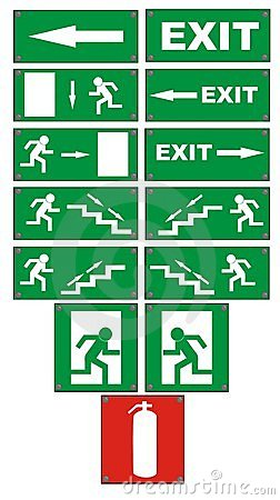 Emergency fire escape signs