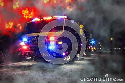Emergency Firefighter Truck and Blaze Fire Flames