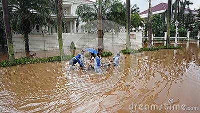 Emergency mode of transportation in the flood Editorial Stock Photo