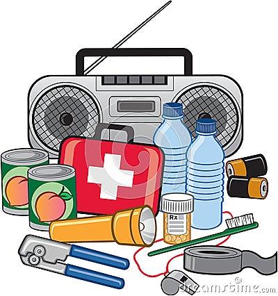 Free Emergency Survival Preparedness Kit Royalty Free Stock Image - 17996156