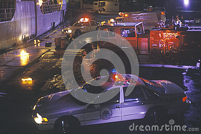 Emergency vehicles at dockside Editorial Photo