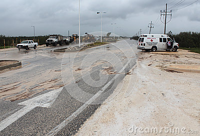 Emergency vehicles in Mahahual Hurricane Ernesto Editorial Image