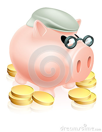 Emerytalny prosiątko bank z monetami
