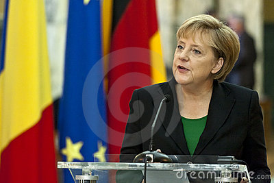 Emil Boc and Angela Merkel at Victoria Palace Editorial Stock Image