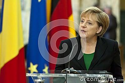 Emil Boc and Angela Merkel at Victoria Palace Editorial Stock Image