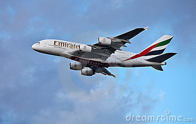 Emirates A380 Airbus taking off Editorial Photo