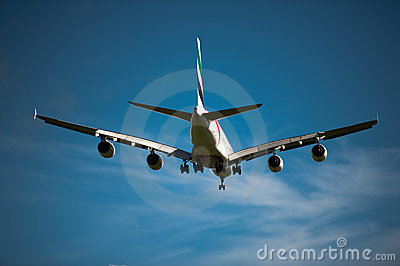 Emirates A380 on approach Editorial Stock Image