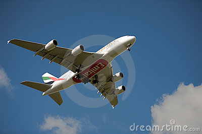 Emirates A380 on approach Editorial Photo