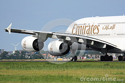 Emirates A380 takeoff Editorial Image