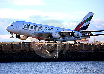 Emirates Airbus A380 takes off. Editorial Stock Photo