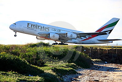 Emirates Airbus A380 takes off. Editorial Image