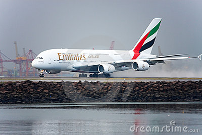 Emirates Airbus A380 takes off in the rain. Editorial Photography