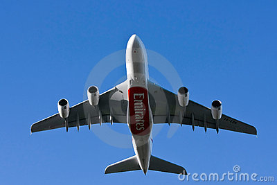 Emirates airlines Airbus A380 airliner flying low Editorial Photo