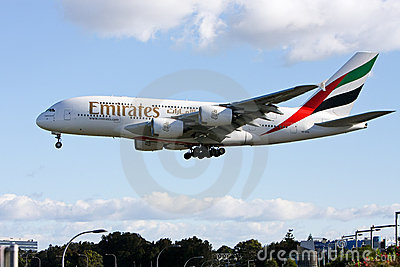 Emirates Airlines Airbus A380 arriving in Sydney, Editorial Stock Image