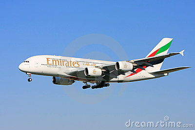 Emirates Airlines Airbus A380 in flight. Editorial Stock Image