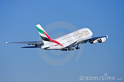 Emirates Airlines Airbus A380 in flight. Editorial Photo