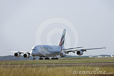 Emirates Airlines Airbus A380 on the runway Editorial Stock Image