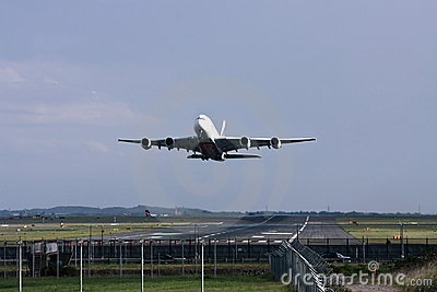 Emirates Airlines Airbus A380 takeing off. Editorial Photography