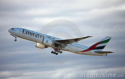 Emirates Boeing 777-200 taking off. Editorial Photo