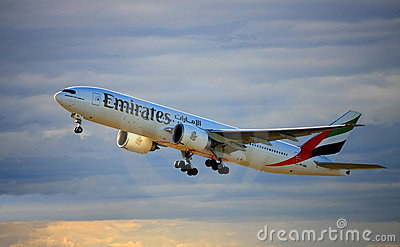 Emirates Boeing 777-200 taking off. Editorial Stock Image