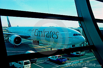 Emirates Boeing 777-300ER Dubai Airport Editorial Image