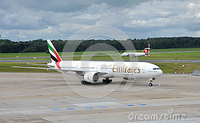 Emirates Boeing 777  in airport Hamburg Editorial Photography