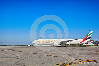 Emirates Boeing 777-31H ready for take off from Prague Airport Editorial Photography