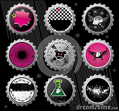 Free Emo Bottle Caps. Stock Image - 6474721