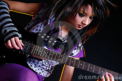 Emo girl and electro guitar