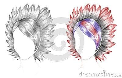 Emo hair sketch