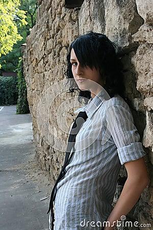 Emo kid near the wall