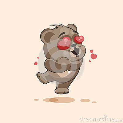 Free  Emoji Character Cartoon Bear In Love Flying With Hearts Sticker Emoticon Stock Photo - 71682940