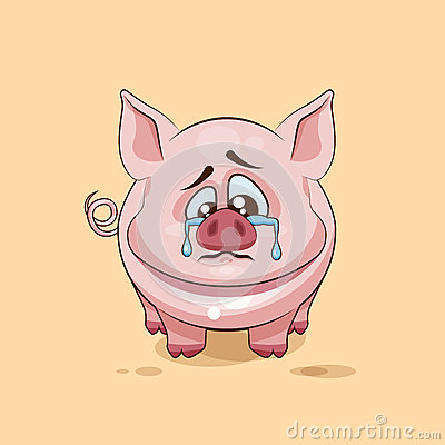 Free  Emoji Character Cartoon Sad And Frustrated Pig Crying, Tears Sticker Emoticon Royalty Free Stock Photography - 71685327