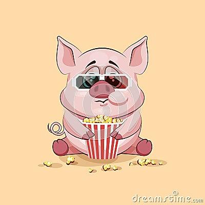 emoji charakter karikatur schwein das popcorn aufpassenden film in emoticon aufkleber der. Black Bedroom Furniture Sets. Home Design Ideas