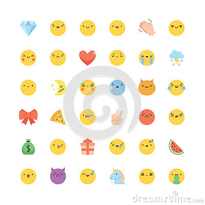 Free Emoji Icon Vector Set. Flat Cute Korean Style Isolated Emoticons Royalty Free Stock Photos - 76327138