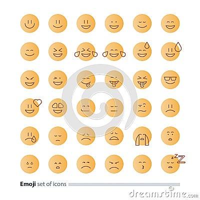 Emoji icons, emoticon symbols, face expression signs, minimalistic flat design Vector Illustration
