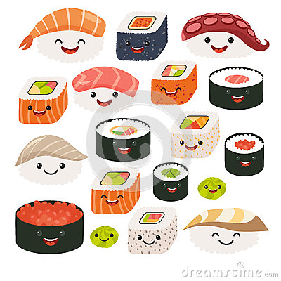 Free Emoji Sushi Characters.Cartoon Japanese Food. Vector Set Sushi Cartoon Characters. Royalty Free Stock Photos - 72081628