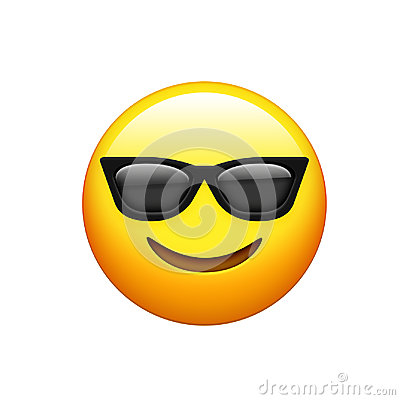 Free Emoji Yellow Face With Black Sunglass And Smile Icon Royalty Free Stock Image - 96122456