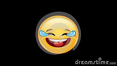 Emoticon con los rasgones de la animación de la alegría stock de ilustración